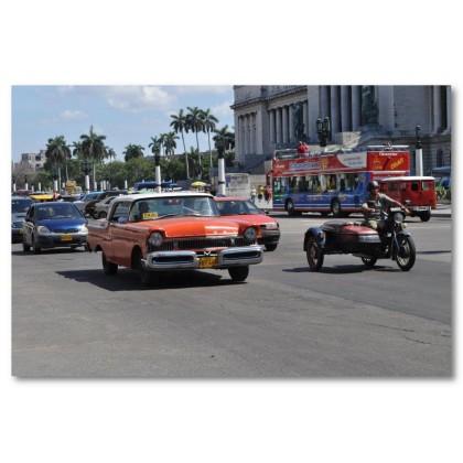 Αφίσα (Κούβα, Αβάνα, κυκλοφορία, λεωφορείο, αυτοκίνητα)